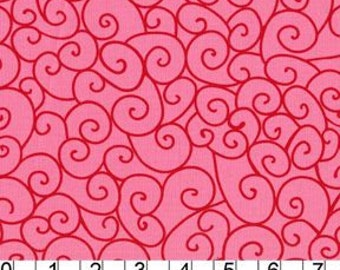 Michael Miller Fabric - Swirly Gig in Lipstick, By the Yard
