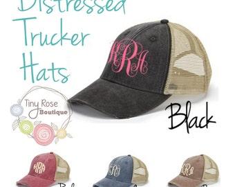 Monogrammed Trucker Hat, Distressed Black Trucker Hat - Personalized Ball Cap, Mesh Trucker Hat