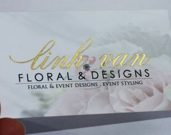 200 Business Cards or Hang tags -  20PT white matte silk laminated stock - Metallic foil gold/silver + more  - full color - custom printed