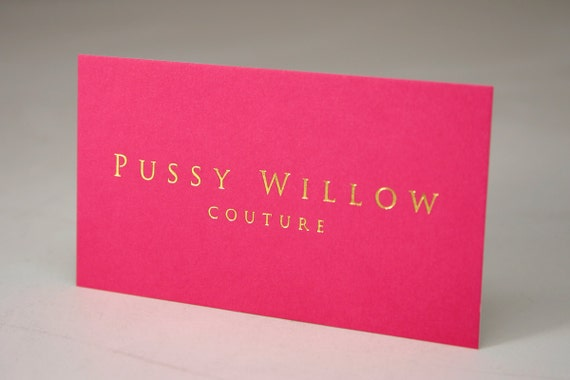 500 Business Cards metallic foil stamped on silk laminated