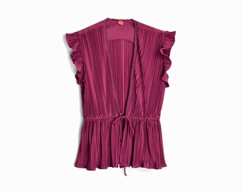 Vintage 70s Boho Burgundy Top / Accordion Pleated Blouse in Red Wine / Wedding Fashion - women's xs