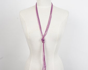 extra long purple multi strand beaded necklace 60s 70s vintage lavender bead opera length necklace
