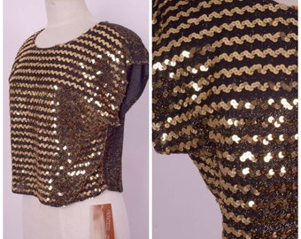 deadstock gold sequin crop top women 70s 80s shimmery metallic cap sleeve disco blouse NWT medium large
