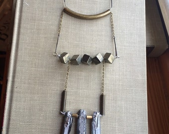Handmade crystal pyrite brass statement necklace