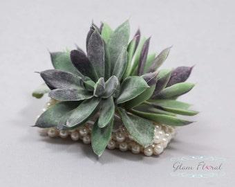 Succulent Wrist Corsage.  Wedding Flower- Prom Corsage- Real Touch Corsage- Wrist Corsage. green, purple, fuzzy