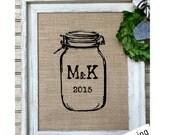 Custom Country Wedding | Mason Jar Wedding | Rustic Wedding Gift | Barn Wedding | Mason Jars | Burlap Print | Distressed Barn Wood Frame