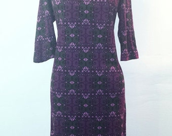 AUTUMN ARRIVAL 25% OFF Vintage 1960s Pink Purple and Dark Green Dress