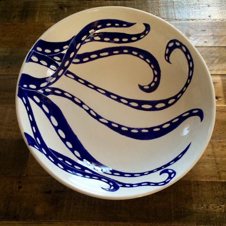 Large serving bowl centerpiece blue and white by jessicahoward