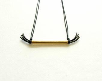 Greek Modern Jewelry-Brass Oxidized Necklace-Greek Modern Necklace-Modern Tube Pendant-Gold Patina Necklace-Contemporary