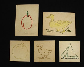 Set of Five Vintage Sewing Cards