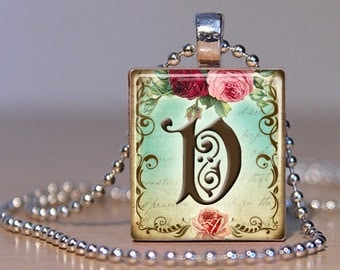 Vintage Monogram Letter V with  Roses - Pendant made from an Upcycled Scrabble Tile (171)