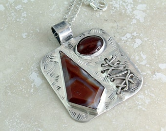 Lake Superior Agate Pendant with Sterling Silver and Carnelian