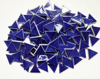 Mosaic Tiles-100-1 inch Cobalt Blue triangle tiles- ceramic mosaic tiles, Handmade
