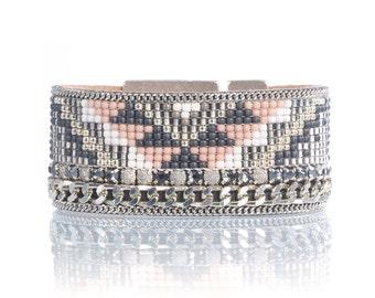Tribal bracelet - Aztec bracelet - Geometric cuff bracelet - Geometric jewelry - Loom woven bracelet - beadloom bracelet - statement cuff