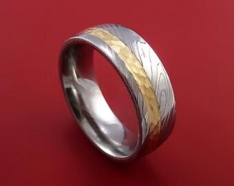 Damascus Steel 14K Yellow Gold Ring Wedding Band Custom Made Hammer Finish
