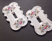 Vintage Handpainted Ceramic Switchplates Floral Japan