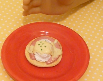 Miniature Dollhouse Eggs Benedict for American Girls 18 inch doll 1:3 scale