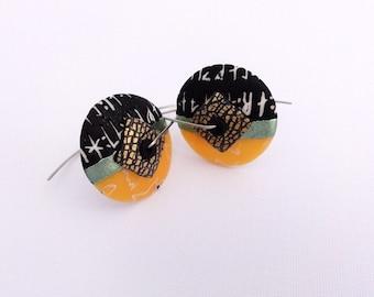 Disk earrings Halloween 1 by Marie Segal, new design, handmade earwires in stainless steel