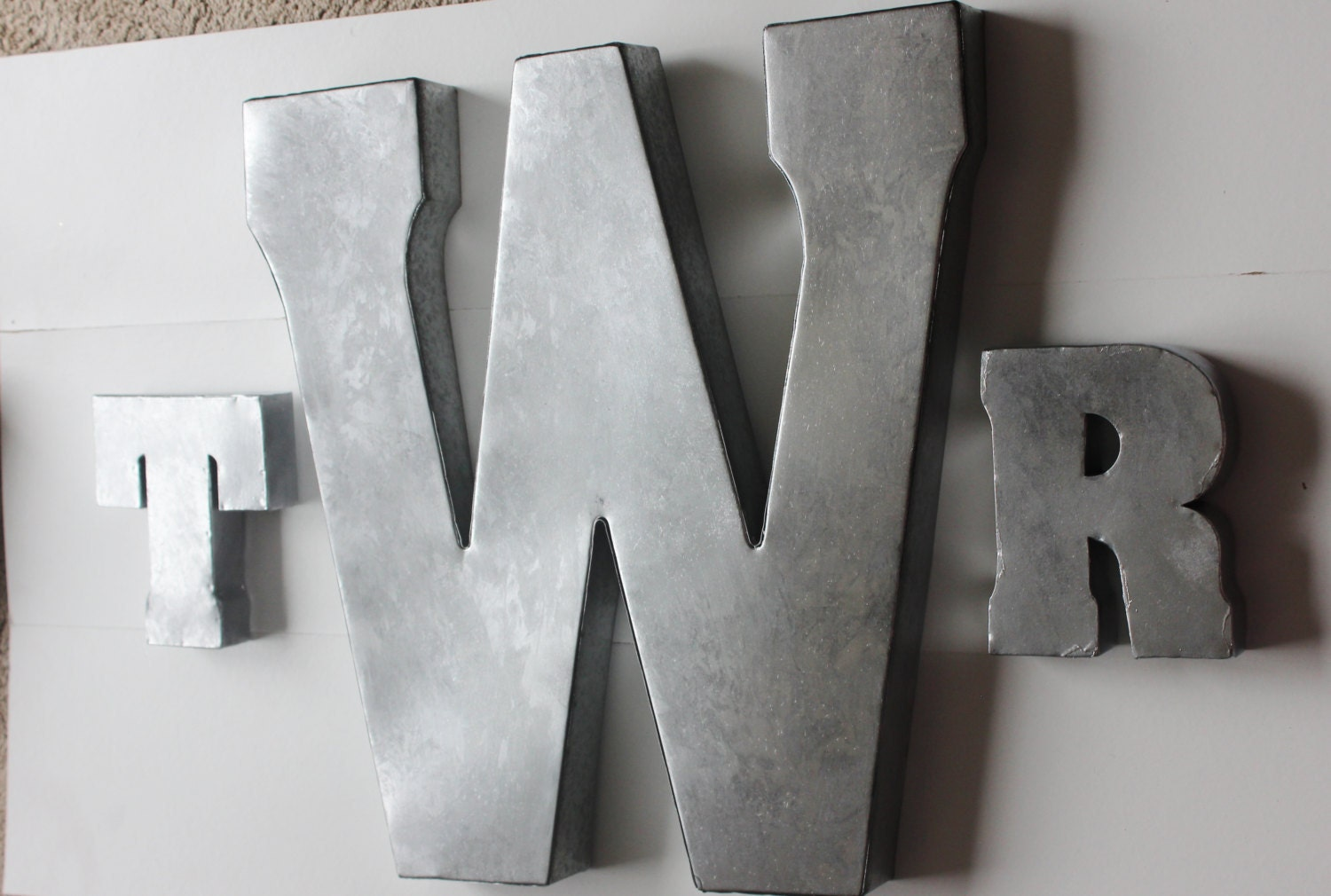 Silver Letters Wall Decor : Set monogram metal initials wall art home decor letters