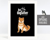 Fathers Day Card - Best Dogfather in the World - The Godfather - Corgi, French Bulldog, Pit Bull, Shiba Inu Dog Fathers Day Cards and Gifts