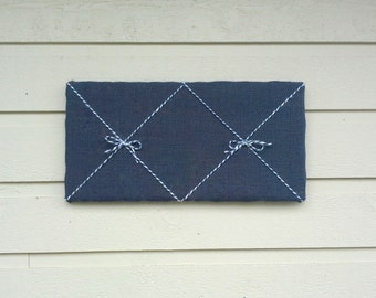 Pinboard Burlap and Twine Bulletin memo board, Sailor Navy Burlap and striped blue and white twine with two bows, nautical beach cabin decor