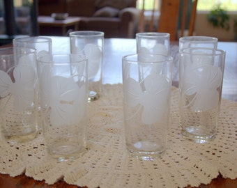 Vintage Etched Dogwood Tumblers Set of 8