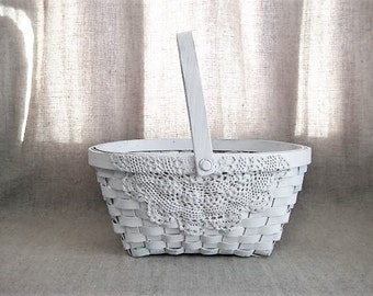 White Lace Flower Girl Basket / Shabby White Basket for Wedding or Reception / Program Basket / Favor Basket