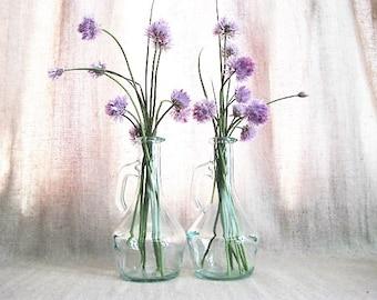 Vintage Glass Cruets / Glass Bottles for Oil, Vinegar, Kitchen, Bath, Wedding or Reception Decor