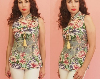 90s Cheongsam Top // Floral Print Top // Pastel Floral Print // Pin Up Retro Style Top // Mandarin Collar Top