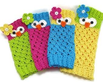 Leg Warmers - Fingerless Gloves - Owl Leg Warmers - Owl Gloves - Owl Fingerless Gloves - Owl Accessories - Crochet Gloves - Crochet Warmers