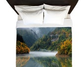 Foggy Forest Mountain Lake Duvet Cover/ Bedding/ Comforter Cover/ Twin, Queen, King/ Nature/ Mountains/ Fog/ Made To Order