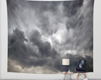 Stormy Sky / Wall Tapestry/ Art Wall Hanging/ Nature/ Sky/ Storm/ Clouds/ Grey / Indoor Outdoor Fabric/ 3 Sizes