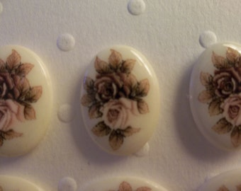 Vintage Japanese Decal Picture Stones - Pink & Mauve Two Rose Cameo -  18 X 13mm Glass Cabochons - Qty 6