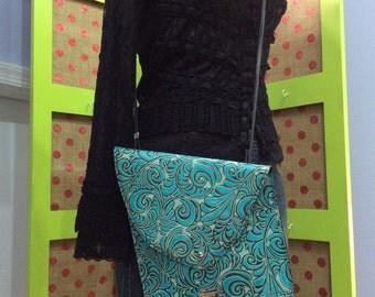 Aqua leather crossbody purse