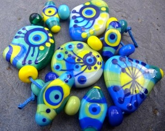 Bright Side - Handmade Lampwork Glass Bead Set (19) by Anne Schelling, SRA