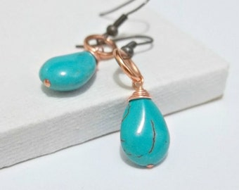 Turquoise Earrings Copper Earrings Wire Wrapped December Birthstone Jewelry Boucles D'oreilles Cuivre  Turquoise