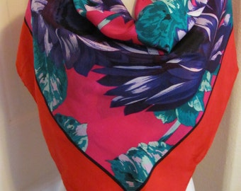 """Adrienne Vittadini // Large Colorful Red Floral Soft Silk Scarf // 34"""" Inch 90cm Square // Best of the Best NWT"""