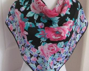 "Designer Beautiful Black Floral Silk Scarf // 30"" Inch 80cm Square"