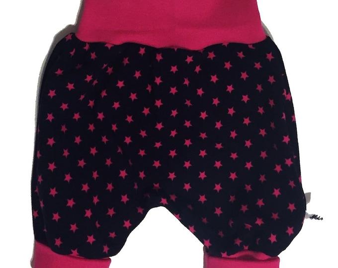 Baby kids toddler girl boy clothing harem pants baggy pants sweat pants, pink purple stars, girls outfit. Size preemie - 3 y