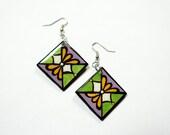 Small & Bold Handpainted Modern Metallic Green, Lavender and Yellow Flower Blossom Inspired Earrings