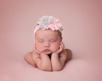 Pink and Grey Baby Headband, Newborn Headband, Baby Girl Headband, Newborn Photo Prop, Photography Prop, Headband