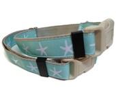 Nautical starfish dog collar.  FREE Custom Engraved Tag.