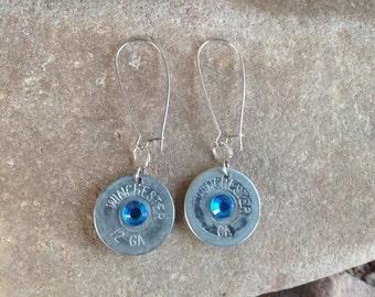 12 Gauge Winchester Shotgun Earrings with Blue Gems
