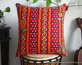 Orange Pillow Ethnic - Colorful Batik Throw Cushion Covers with Leaves and Flowers Motif