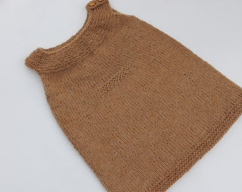 Hand Knit Alpaca Toddler Tunic. Knit Girl Tunic. Knit Baby Girl Dress. Brown Girl Tunic.