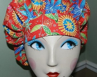 Gypsie Flowers  Banded Bouffant Surgical Cap by Nurseheadwear Bakers Cap