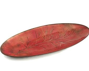 SALE Mid Century Enamel Plate Minimalist Table Accent Enamel Tray Burnt Orange Enamel on Copper Dish Retro Decor