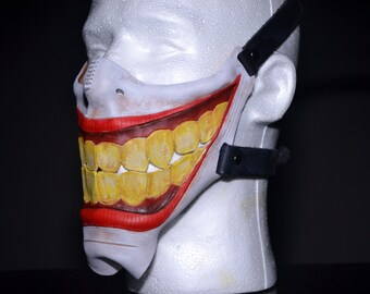 Smiling Handmade Genuine Leather Riding Mask for Masquerades Halloween Cosplay Riding and More - Lower Mouth Mask- Titled Ha! Ha!