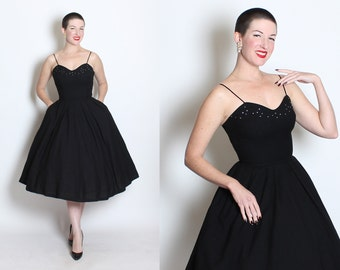 CLASSICALLY CHIC 1950's New Look Inky Black Wool Jersey Party Dress w/ Rhinestone Bust, Boning, & Pockets by Junior Accent Original - Size S