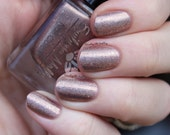 "Nail polish - ""LE30"" Light brown linear holographic polish with flakes"